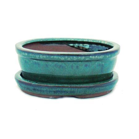 Bonsai-Schale mit Unterteller Gr. 1 - Grün - oval - Modell O7 - L 12cm - B 9,5cm - H 4,5 cm
