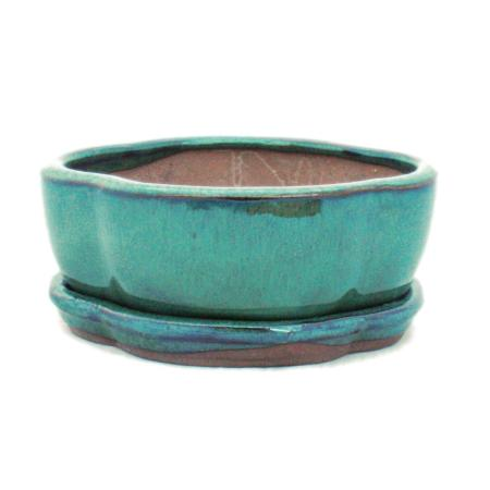 Bonsai cup and saucer Gr. 1 - Green - Haitang/oval - Model I5 - L 12cm - W 9.5cm - H 4.5 cm