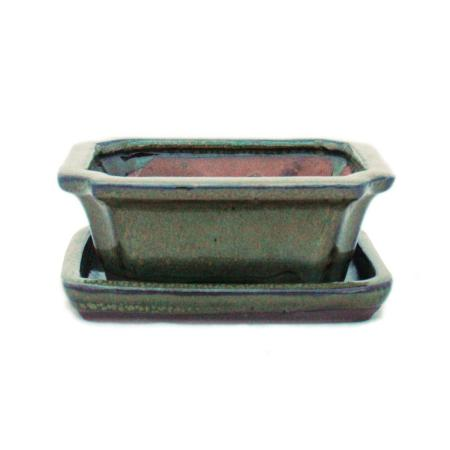 Bonsai cup and saucer Gr. 1 - Olive Brown - Square - Model G13 - 12cm - W 9.5cm - H 4.5cm