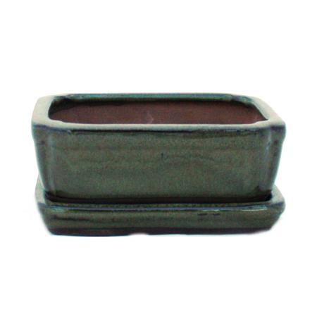 Bonsai-Schale mit Unterteller Gr. 1 - Oliv-Braun - eckig - Model G15 - L 12cm - B 9,5cm - H 4,5 cm