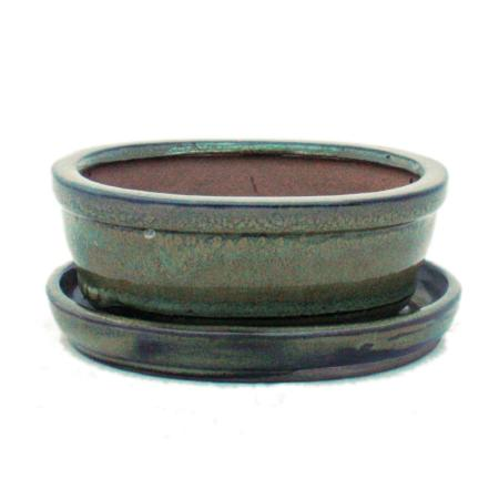 Bonsai cup and saucer Gr. 1 - olive brown - oval - model O7 - L 12cm - B 9,5cm - H 4,5 cm