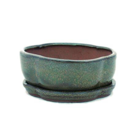 Bonsai cup and saucer Gr. 1 - olive brown - haitang /oval - model I5 - L 12cm - B 9.5cm - H 4.5 cm
